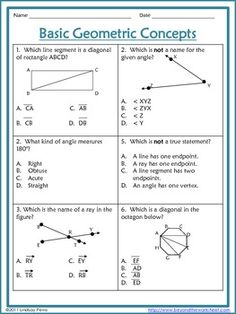 This 2 page worksheet includes 6 multiple choice questions and 1 extended response question. Skills assessed are naming angles, line segments and rays, and identifying diagonals.