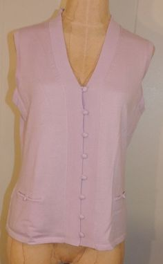 Woman's Brooks Brothers 346 Medium Lavender Merino Wool Button Sweater Vest #BrooksBrothers #Sweater
