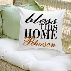 Buy Bless This Home Decorative Pillow. Gifts & Baskets - Bless This Home Decorative Pillow. Bless This Home Decorative PillowDETAILS: Personalized Home Decor is the hottest trend, now it's comfortable too! Our soft Personalized Decorative Pillows wi Toss Pillows, Bed Pillows, Christmas Ships, Christmas Ideas, Christmas Decorations, Personalized Pillows, Personalized Gifts, Personalized Wedding, Family Room Design