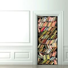 trompe l'oeil fabric door cover, messy book stack