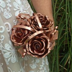 Rustic wedding bouquet, boho bride, rose posy, wedding flowers, bride bouquet, unusual wedding flowers, gothic flowers, steampunk wedding by GreenleafArtworks on Etsy