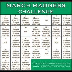 Full Body Workout :: March Madness Fitness Challenge He and She Eat Clean Weight Loss Challenge, Workout Challenge, Workout Schedule, Workout Tips, Funny Diet Quotes, Diet Inspiration, Best Diet Plan, Fitness Journal, Fat Loss Diet