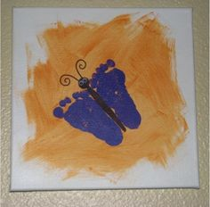 12×12 canvases & Washable paints Finger paint {or brush on} a solid color of washable paint on the white canvas for a background. After it has dried, have the kids place a painted hand or footprint down. Use a sharpie to draw in the details. After all of the steps above have dried, spray canvases with a few coats of matte clear acrylic sealer, to help seal them, keep the colors sharp, and keep the paint from washing away over time. add googly eyes for some added character