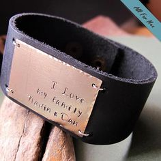 b7cba7541946 Personalized Leather Cuff Bracelet for Men   Quote Engraved Men Engraved  Leather Bracelets