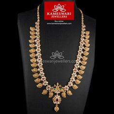 Lakshmi Carved Mango Mala Necklace Collection from Kameswari Jewellers. Ruby and Emeralds are carat. Mango Mala Jewellery, Gold Temple Jewellery, Mens Gold Jewelry, Bridal Jewelry, India Jewelry, Gold Earrings Designs, Necklace Designs, Gold Choker Necklace, Mango Necklace