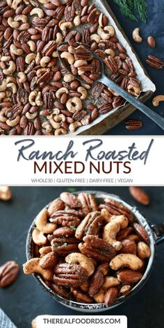 Ranch Roasted Mixed Nuts - The Real Food Dietitians Nut Recipes, Real Food Recipes, Snack Recipes, Healthy Snacks Diy, Free Recipes, Zucchini Chips, Nut Mix Recipe, Savory Nuts Recipe, Breakfast