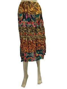 """Bohemian Clothing Crinkled Multicolor Peasant Skirt for Womens 29"""" Mogul Interior, http://www.amazon.com/gp/product/B008TN235K/ref=cm_sw_r_pi_alp_P3diqb1MCKZFN"""