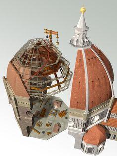 The Duomo or the Santa Maria del Fiore: Brunelleschi's Dome Architecture Tools, Cathedral Architecture, Architecture Concept Drawings, Italy Architecture, Renaissance Architecture, Gothic Architecture, Historical Architecture, School Architecture, Ancient Architecture
