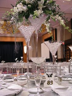 Beautiful & elegant giant vase in the shape of a martini glass is perfect as a centerpiece for weddings and other special…
