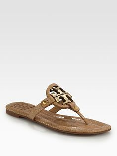 Tory Burch Miller Snake-Print Leather Thong Sandals