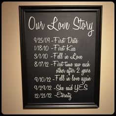 Love Story on chalkboard vinyl. Awesome wedding gift idea! Getting the dates without being suspicious though...hmm?