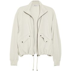 T by Alexander Wang Sandwashed-jersey track jacket (€125) ❤ liked on Polyvore featuring outerwear, jackets, coats, coats & jackets, t by alexander wang, drawstring jacket, jersey knit jacket, dolman jacket and jersey jacket