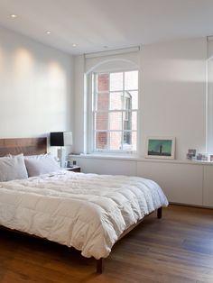 Tribeca Loft - modern - bedroom - new york - Wettling Architects Modern Master Bedroom, Modern Bedroom Design, Master Bedrooms, White Bedroom, Master Suite, Modern Design, Aesthetic Bedroom, Traditional Bedroom, Contemporary Home Decor