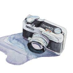 Canon Demi C Camera, Watercolor Painting