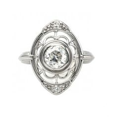 Dahlia is a pretty vintage Art Deco ring with beautiful scalloped filigree. TrumpetandHorn.com // $3,500