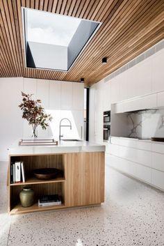 The terrazzo in the kitchen: granito trend - Home Decor House Ceiling Design, House Design, Patio Design, Design Table, Concrete Design, Timber Kitchen, Wooden Kitchen, Concrete Kitchen, Kitchen Rustic