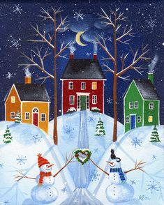Snow Village Folk Art Print by KimsCottageArt on Etsy, $12.95