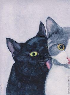 """Купить Акварель """"Кошки. Это любовь?!"""" - акварель, Кошки, любовь, нежность, серый, черный, белый"""
