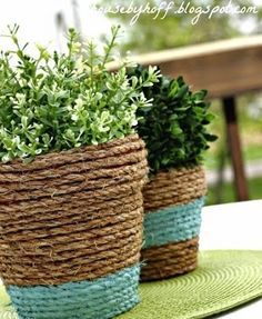 Wrap tired terracotta pots in rope for your porch or patio - and even add color with a painted stripe. Very nicely done from House by Hoff!