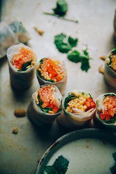 so fresh: papaya salad rolls via thefirstmess.com