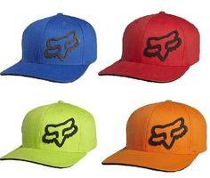 FOX RACING MENS SIGNATURE FLEXFIT HAT NEW BLUE/ORANGE/RED/GREEN 68073 $23.40 ECKLUND MOTORSPORTS Orange Red, Red Green, Flex Fit Hats, Fox Hat, Fox Logo, Races Outfit, Fox Racing, Cute Hats, Mountain Biking