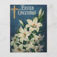 Shop Vintage Religious Easter Greetings, Lily Flowers Holiday Postcard created by YesterdayCafe. Personalize it with photos & text or purchase as is! Holiday Postcards, Vintage Postcards, Easter Stickers, Easter Religious, Holiday Images, Easter Greeting Cards, Easter Flowers, Bible Crafts, Custom Mouse Pads