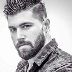 Justin Vo love beautiful men: Mid Fade with Hard Part and Beard Beard Styles For Men, Hair And Beard Styles, Hair Styles, Hairstyles Haircuts, Haircuts For Men, Cool Hairstyles, Hairy Men, Bearded Men, Beard Shampoo And Conditioner
