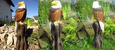 """Diesen Weisskopfseeadler habe ich im Juli 2016 geschnitzt.Jetz steht er bei mir an meinem Gartenteich. Einige Videos wie ich solche Figuren schnitze könnt Ihr auf meinem YouTube Kanal """"Larscarving""""  sehen. Viel Spaß dabei."""