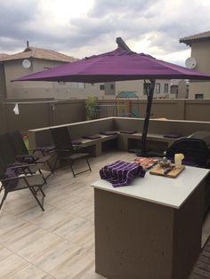 Back yard with purple decor