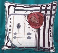 Pink Mackintosh Cushion Front Cross Stitch Kit by Barbara Thompson