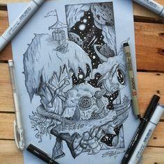 Ilha voadora #draw #drawing #desenho #sketch #desenhando #dotwork #blackwork #arte #skull #ilhavoadora #ilha #caveira #flyingisland #inspiracao #inspiration #sakura #copic #copicmarkers #pen #nankin Blackwork, Copic, To Collect, Dot Work, Drawing, Drawing Stuff, Draw, Art, Iceland