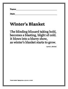 Winter Snow Poem with -bl Blends: Teach Language Skills wi
