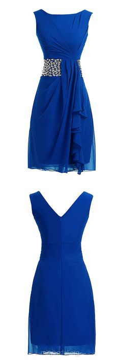 Discounted Royal Blue Prom Dresses,A-line Scoop Neck Cocktail Dress, Chiffon Short/Mini Homecoming Dresses,Beading Evening Party Gowns