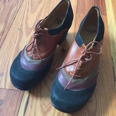 John Fluevog lace ups Multi colored lace ups . Worn once . Size 8 but they seem to run small as I am a 7.5. Cute and cool. John Fluevog Shoes