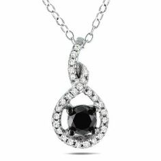Sterling Silver 1/2 CT TDW Black and White Diamond Fashion Pendant (H-I, I3) Amour. $116.99. Save 50%!