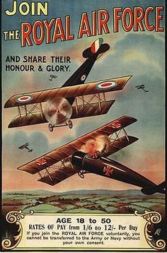 World War One Royal Air Force Recruitment Poster A3 / A2 Reprint