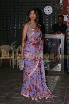 Shilpa S Kundra in saree Sari Blouse Designs, Saree Blouse Patterns, Indian Attire, Indian Outfits, Cutwork Saree, Saree Floral, Modern Saree, Satin Saree, Designer Silk Sarees