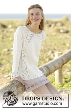 Maren / DROPS - Free knitting patterns by DROPS Design Top-down knitted pullover with lace pattern and raglan sleeves in DROPS Cotton Merino. Sizes S - XXXL. Free patterns by . Drops Design, Crochet Pullover Pattern, Knit Crochet, Lace Knitting Patterns, Free Knitting, Top Pattern, Free Pattern, Work Tops, Pulls
