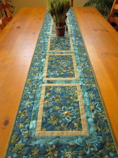 Handmade Table Runner, Quilted Table Runner Teal, Table Runners