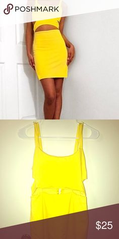 Zara Yellow Cut out dress bright yellow. Flattering cut outs. Soft material- half zip closure half hook closure in the back. Perfect for a summer night out! Zara Dresses Mini