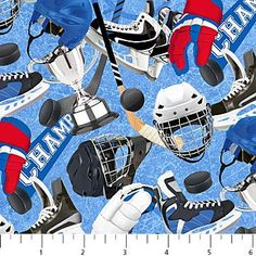 Power Play-Hockey Equipment Sports Cotton Fabric by Northcott~ Fast Shipping, S171