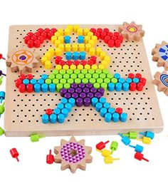 QZM Wooden Jigsaw Puzzle Mosaic Pegboard Game with Colorful Mushroom Nails Peg Puzzles Pixel Drawing Picture Creative Game for Kids Toddlers Toys for Boys Girls 5 Year Old Toys, Toy Room Organization, Imagination Toys, Diy Toy Storage, Wooden Jigsaw Puzzles, Top Toys, Toys For Girls, Toddler Toys, Vintage Dolls