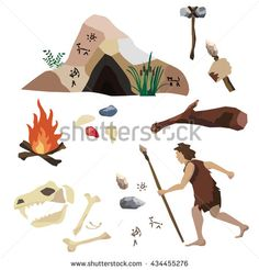 Vector set about the Stone Age, primitive man's life, his tools and housing. It includes cave, rock painting, spear, scraper, fire, stick, hammer / ax, precious stones. Concept for video game