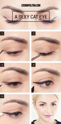 Makeup Cat Eyes Neutral Thin Cut Crease Cat Eye Makeup Look. Makeup Cat Eyes How To Perfect Winged Eyeliner 8 Steps For Perfect Cat Eye. Makeup Tricks, Eye Makeup Tips, Makeup Tutorials, Sexy Eye Makeup, Beauty Makeup, Flawless Makeup, Flawless Skin, Makeup To Look Younger, Eye Makeup Tutorials