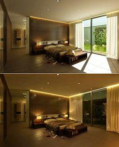 modern LED ceiling lights for bedroom: decorated bedroom LED spotlights