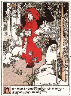 Margaret Ely Webb, Red Riding Hood, 1903. Okay, there's some black in it, too, but I love this and want it in my read and white board.
