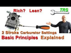 2 Stroke Carburetor | How to Tune | How it Works | Basic Principles - by Craig Kirkman - YouTube Lawn Mower Maintenance, Lawn Mower Repair, Power Tool Storage, Power Tools, Chainsaw Repair, Lawn Equipment, Boat Projects, Riding Mower, Engine Repair
