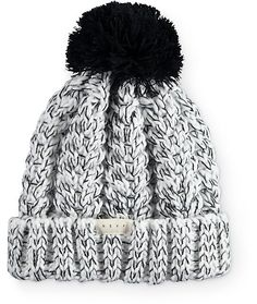 Warm things up with the crisp style of this cuffed beanie that features a thick and chunky marled knit construction finished with a large pom pom at the top.