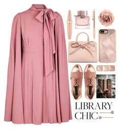 """""""Romantic library chic"""" by puljarevic ❤ liked on Polyvore featuring Valentino, Mansur Gavriel, Hourglass Cosmetics, Rebecca Minkoff, LC Lauren Conrad, Burberry, Maybelline and finals"""