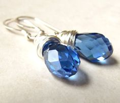 Blue Crystal Earrings  Wire Wrapped Drop by BellinaCreations, $26.00